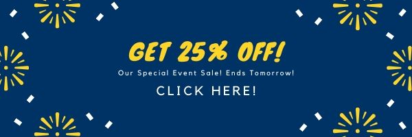 "An example graphic with the copy: ""Get 25% Off! Our special event sale ends tomorrow. Click here!"""