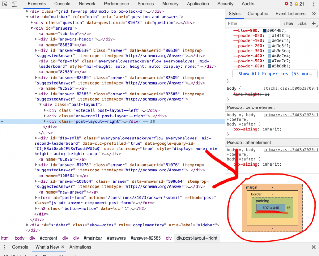 What my developer tools panel looks like when I clicked Inspect Element.