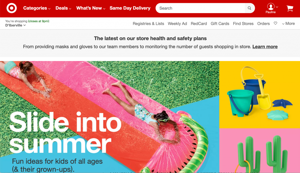 Screenshot of Target's hero section on the home page