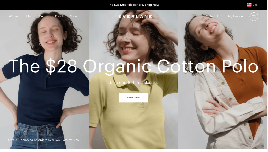 Everlane's hero section on the homepage