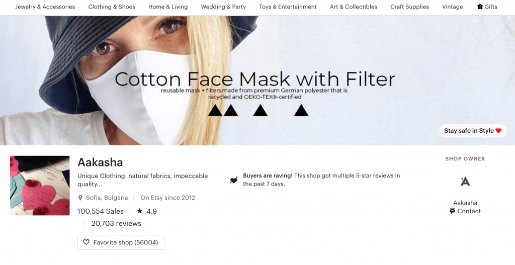 An etsy banner featuring cotton face mask