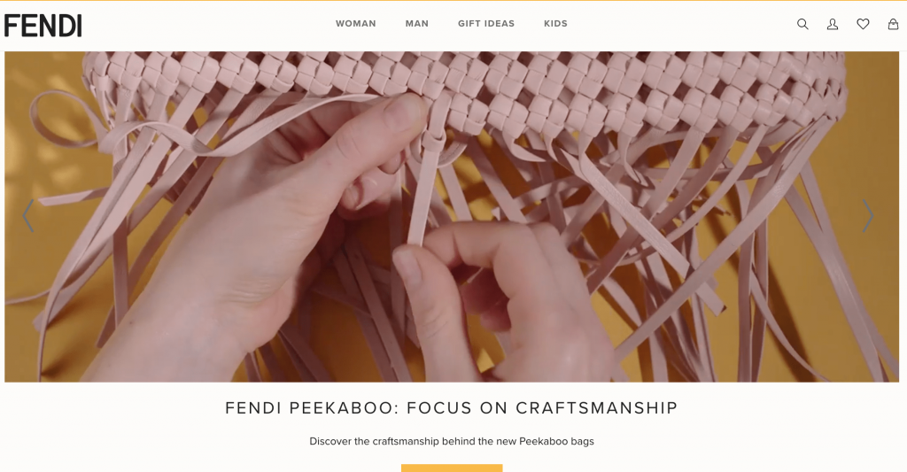 Fendi hero section of their home page