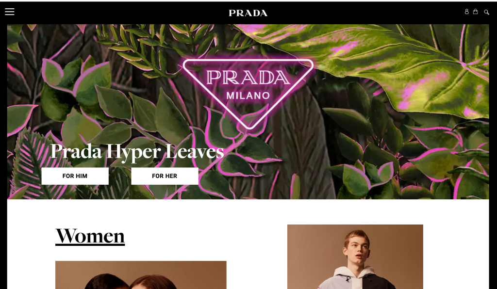 Prada's hero section highlighting their collection