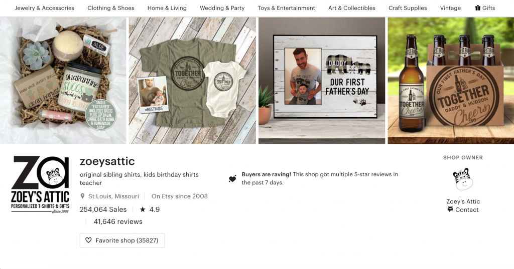 Personalization Etsy seller using a catalog style banner to show some of the different products he can add personalization on