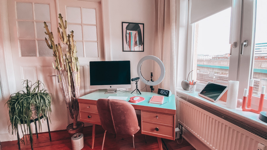Cute office space with a desk and computer