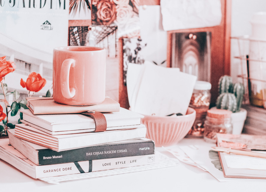 What small think can you accomplish today to improve your etsy shop? Pictured is a closeup of the mug on the cute desk.
